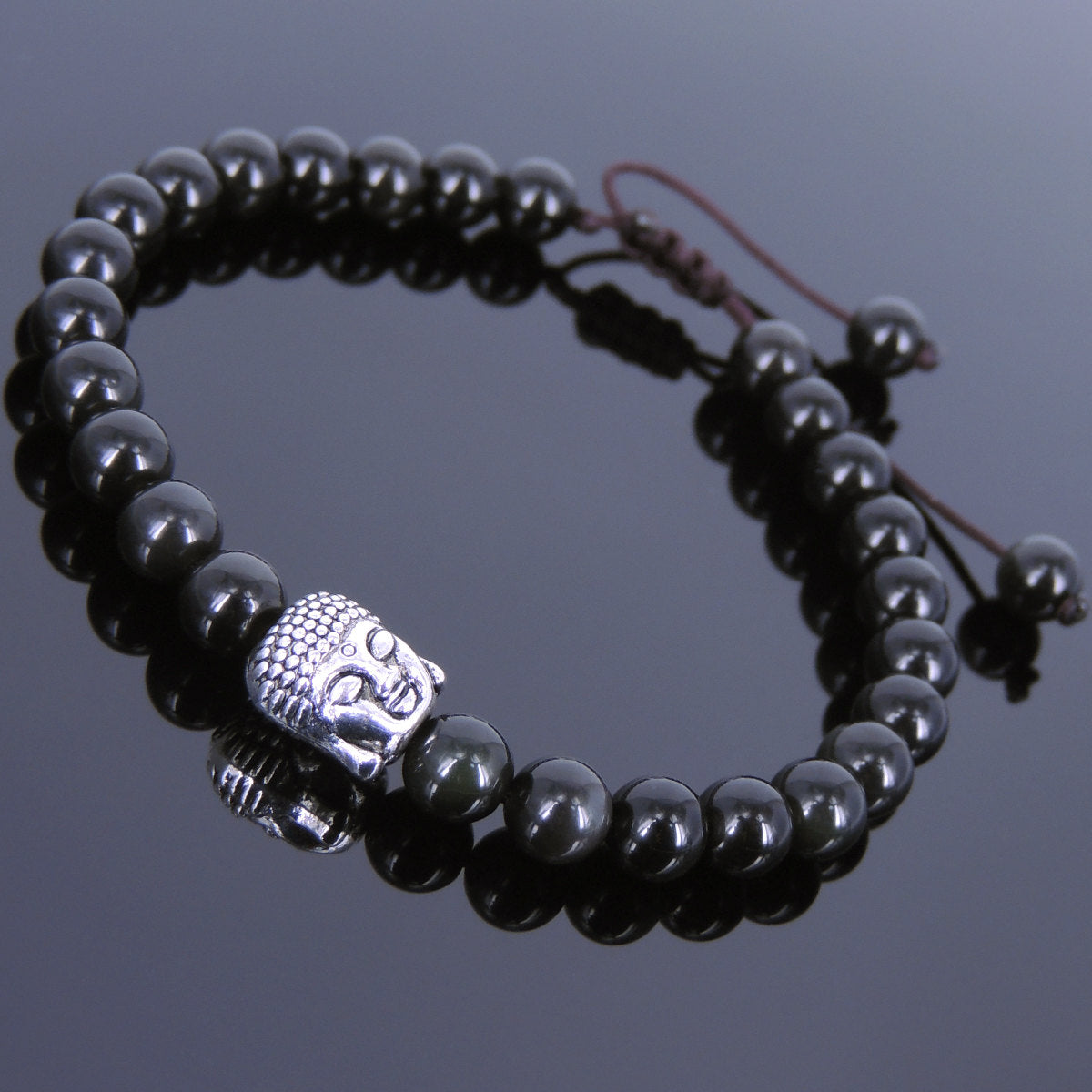 6mm Rainbow Black Obsidian Adjustable Braided Stone Bracelet with Tibetan Silver Sakyamuni Buddha Bead - Handmade by Gem & Silver TSB112