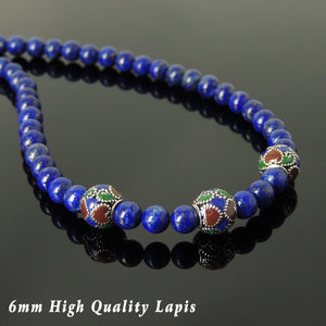6mm Lapis Lazuli Healing Gemstone Necklace with S925 Sterling Silver Hand-painted Beads & Clasp - Handmade by Gem & Silver NK131