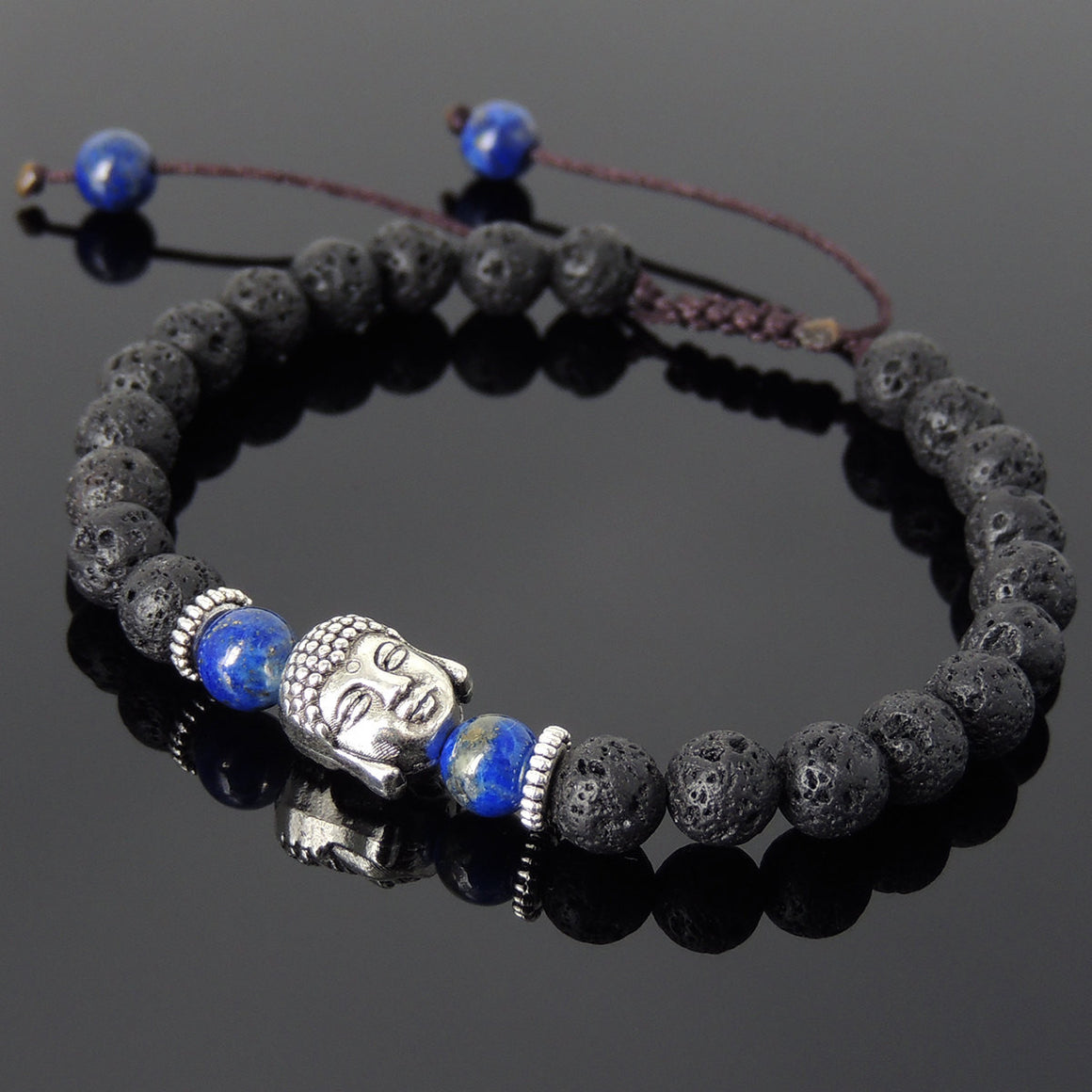 6mm Lava Rock & Lapis Lazuli Adjustable Braided Stone Bracelet with Tibetan Silver Spacers & Guanyin Buddha Bead - Handmade by Gem & Silver TSB213