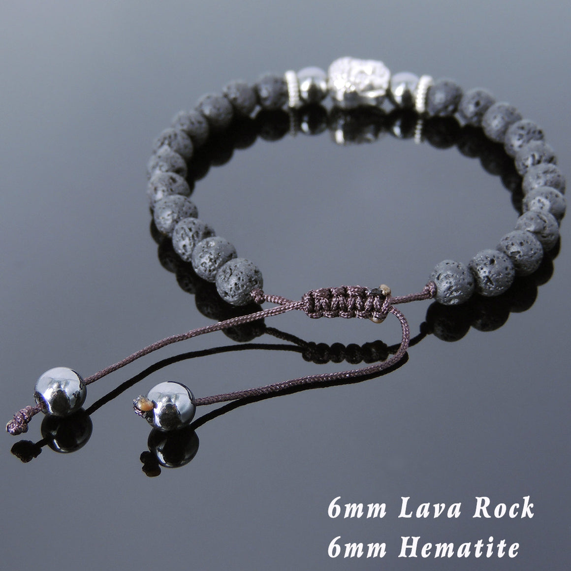 6mm Hematite & Lava Rock Adjustable Braided Stone Bracelet with Tibetan Silver Spacers & Guanyin Buddha Bead - Handmade by Gem & Silver TSB224