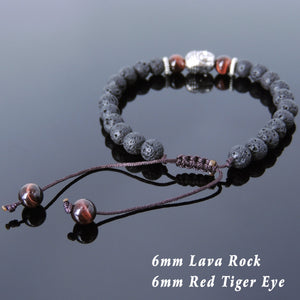 6mm Red Tiger Eye & Lava Rock Adjustable Braided Stone Bracelet with Tibetan Silver Spacers & Sakyamuni Buddha Bead - Handmade by Gem & Silver TSB228
