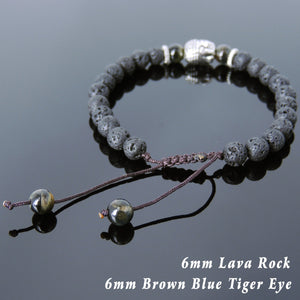 6mm Brown Blue Tiger Eye & Lava Rock Adjustable Braided Stone Bracelet with Tibetan Silver Spacers & Sakyamuni Buddha Bead - Handmade by Gem & Silver TSB233
