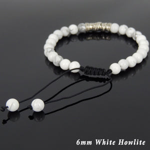 6mm White Howlite Adjustable Braided Gemstone Bracelet with S925 Sterling Silver Dragon Charm - Handmade by Gem & Silver BR791