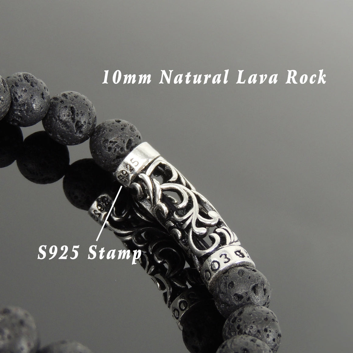 10mm Lava Rock Healing Stone Bracelet with S925 Sterling Silver Celtic Charm - Handmade by Gem & Silver BR945