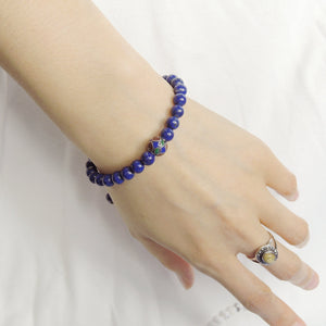 6mm Lapis Lazuli Adjustable Braided Bracelet with S925 Sterling Silver Round Hand Painted Bead - Handmade by Gem & Silver BR799