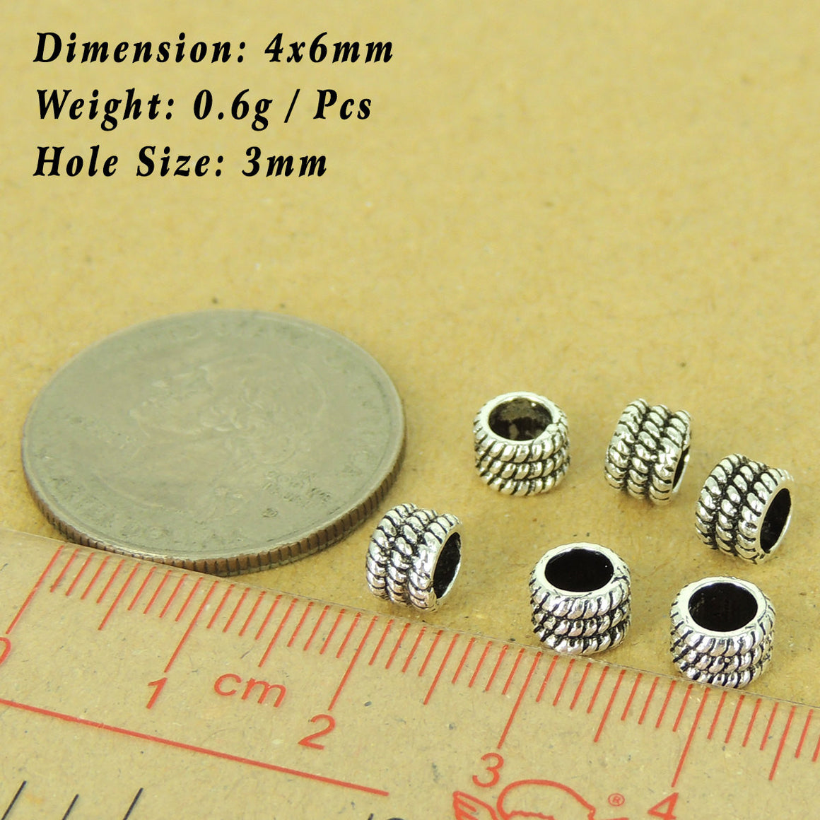 6 PCS Textured Wheel Spacer Beads - S925 Sterling Silver WSP498X6