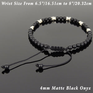 4mm Matte Black Onyx Adjustable Braided Gemstone Bracelet with S925 Sterling Silver Nugget Beads - Handmade by Gem & Silver BR947