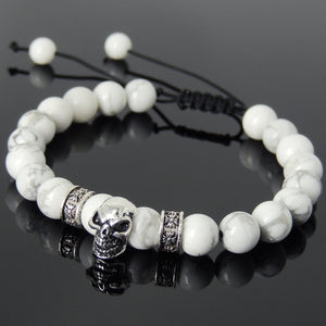 8mm White Howlite Healing Gemstone Bracelet with S925 Sterling Silver Protection Skull Charm & Celtic Spacers - Handmade by Gem & Silver BR814