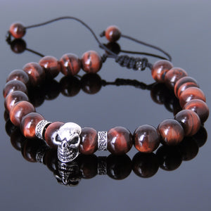 8mm Red Tiger Eye Adjustable Braided Gemstone Bracelet with S925 Sterling Silver Protection Skull Charm & Celtic Spacers - Handmade by Gem & Silver BR815