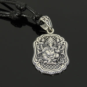 Adjustable Wax Rope Necklace with S925 Sterling Silver Ganesha Buddha Pendant - Handmade by Gem & Silver NK158