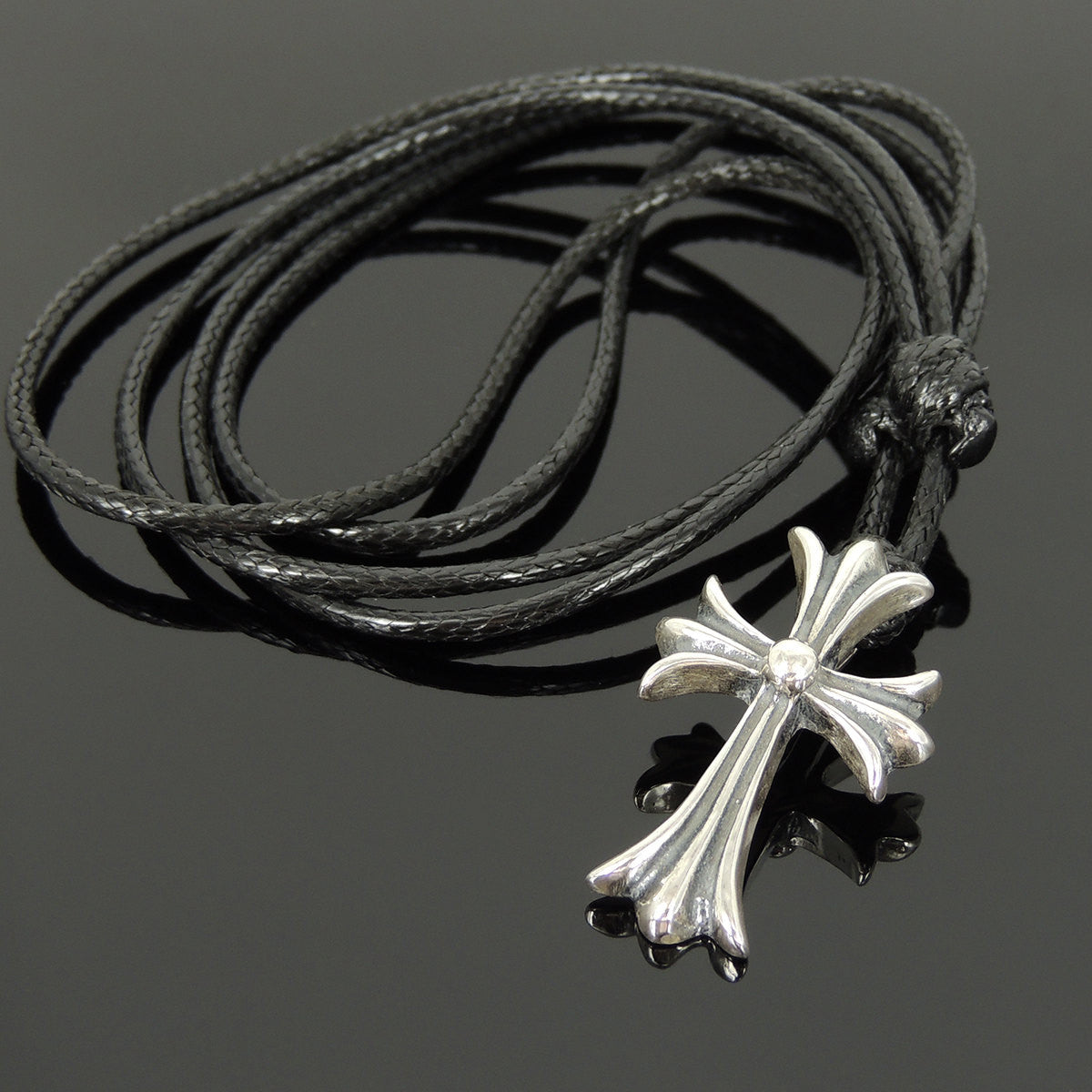 Adjustable Wax Rope Necklace with S925 Sterling Silver Cross Pendant - Handmade by Gem & Silver NK160