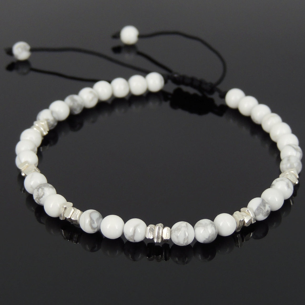 4mm White Howlite Adjustable Braided Gemstone Bracelet with S925 Sterling Silver Nugget Beads  - Handmade by Gem & Silver BR952