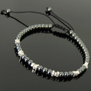 4mm Hematite Adjustable Braided Bracelet with S925 Sterling Silver Handmade Nugget Beads - Handmade by Gem & Silver BR953