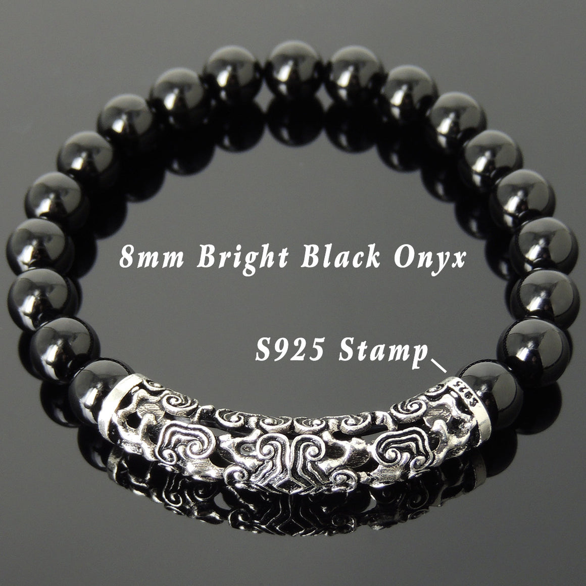 8mm Bright Black Onyx Healing Gemstone Bracelet with S925 Sterling Silver Lucky Chinese Wood Charm - Handmade by Gem & Silver BR964