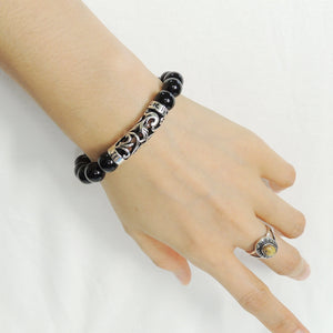 10mm Bright Black Onyx Healing Gemstone Bracelet with S925 Sterling Silver Celtic Charm - Handmade by Gem & Silver BR965