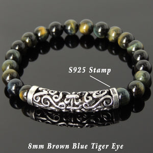 8mm Brown Blue Tiger Eye Healing Gemstone Bracelet with S925 Sterling Silver Celtic Fleur de Lis Charm - Handmade by Gem & Silver BR970