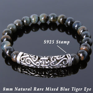8mm Rare Mixed Blue Tiger Eye Healing Gemstone Bracelet with S925 Sterling Silver Celtic Fleur de Lis Charm - Handmade by Gem & Silver BR971