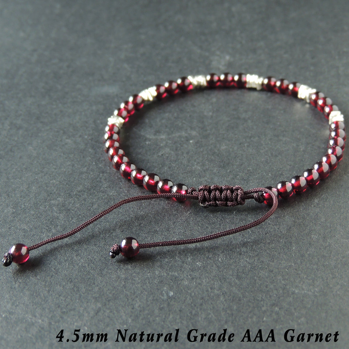 4.5mm Natural Grade AAA Garnet Adjustable Braided Gemstone Bracelet with S925 Sterling Silver Nugget Beads - Handmade by Gem & Silver BR958
