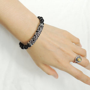 8mm Bright Black Onyx Healing Gemstone Bracelet with S925 Sterling Silver Celtic Fleur de Lis Charm - Handmade by Gem & Silver BR977
