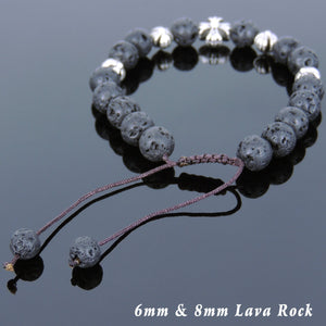 8mm Lava Rock Stone Adjustable Braided Bracelet with Tibetan Silver Holy Trinity Cross Beads - Handmade by Gem & Silver TSB245