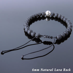 6mm Lava Rock Adjustable Braided Stone Bracelet with Tibetan Silver Bead - Handmade by Gem & Silver TSB253