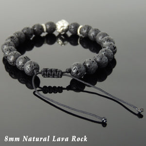 Lava Rock Adjustable Braided Stone Bracelet with Tibetan Silver Lotus Bead - Handmade by Gem & Silver TSB254