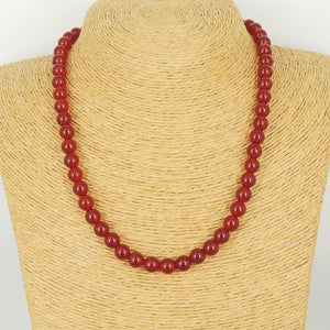 8mm Red Agate Healing Gemstone Necklace with S925 Sterling Silver Spacers & S-Hook Clasp - Handmade by Gem & Silver NK135