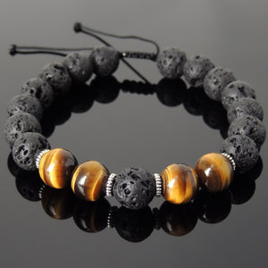 10mm Brown Tiger Eye & Lava Rock Adjustable Braided Stone Bracelet with Tibetan Silver Spacers - Handmade by Gem & Silver TSB269