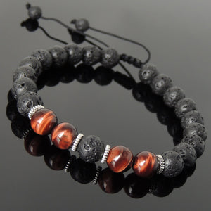 8mm Red Tiger Eye & Lava Rock Adjustable Braided Stone Bracelet with Tibetan Silver Spacers - Handmade by Gem & Silver TSB273