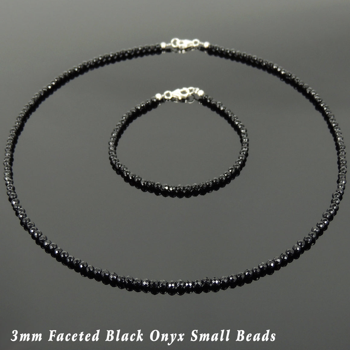3mm Faceted Black Onyx Healing Gemstone Bracelet & Necklace Set with S925 Sterling Silver Spacer Beads & Clasp - Handmade by Gem & Silver NK136_BR871