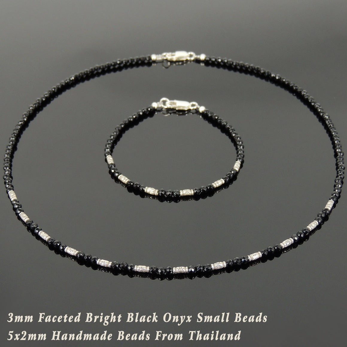 3mm Faceted Black Onyx Healing Gemstone Bracelet & Necklace Set with S925 Sterling Silver Vintage Sun Barrel Beads & Clasp - Handmade by Gem & Silver NK137_BR872