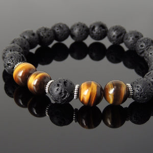 Brown Tiger Eye Vocanic Stone Lava Rock Bracelet Chakra Healing with Tibetan Silver Spacers Handmade by Gem & Silver