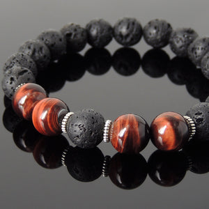10mm Red Tiger Eye & Lava Rock Healing Stone Bracelet with Tibetan Silver Spacers - Handmade by Gem & Silver TSB278
