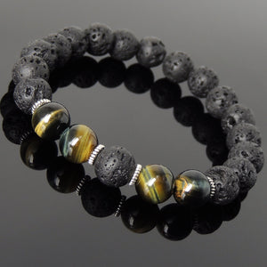 10mm Brown Blue Tiger Eye & Lava Rock Healing Stone Bracelet with Tibetan Silver Spacers - Handmade by Gem & Silver TSB279