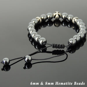 Hematite Adjustable Braided Gemstone Bracelet with S925 Sterling Silver Holy Trinity Cross Beads - Handmade by Gem & Silver BR846