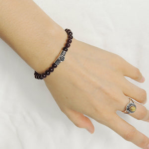 5.5mm Garnet Healing Gemstone Bracelet with S925 Sterling Silver Rose Charm - Handmade by Gem & Silver BR992