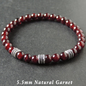 5.5mm Garnet Healing Gemstone Bracelet with S925 Sterling Silver Textured Wheel Spacers - Handmade by Gem & Silver BR993
