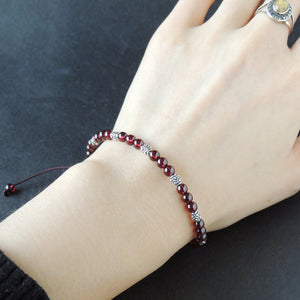 4.5mm Grade AAA Garnet Adjustable Braided Bracelet with S925 Sterling Silver Art Deco Barrel Beads - Handmade by Gem & Silver BR866
