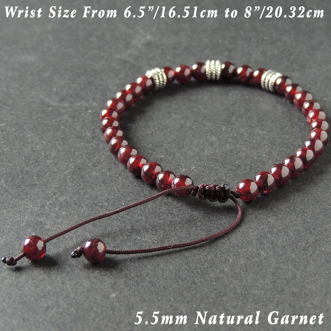 5.5mm Garnet Adjustable Braided Bracelet with S925 Sterling Silver Textured Wheel Charms - Handmade by Gem & Silver BR997