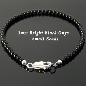 3mm Bright Black Onyx Healing Gemstone Bracelet with S925 Sterling Silver Spacer Beads & Clasp - Handmade by Gem & Silver BR875