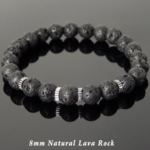 8mm Lava Rock Healing Stone Bracelet with S925 Sterling Silver Spacers - Handmade by Gem & Silver BR1006
