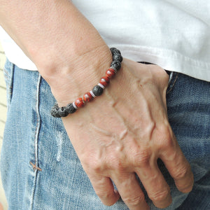 8mm Red Jasper & Lava Rock Healing Stone Bracelet with S925 Sterling Silver Spacers - Handmade by Gem & Silver BR1009