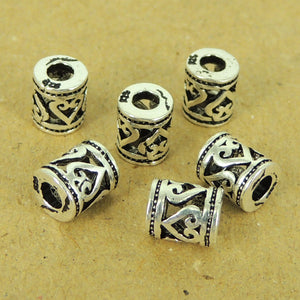 6 PCS Heart & Love Barrel Charm Spacers - S925 Sterling Silver WSP447X6