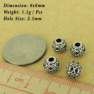 4 PCS Flower & Heart Pattern 8mm Beads - S925 Sterling Silver - Wholesale by Gem & Silver WSP460X4