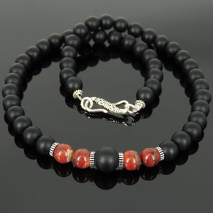 Red Jasper & Matte Black Onyx Healing Gemstone Necklace with S925 Sterling Silver Spacers & Clasp - Handmade by Gem & Silver NK167