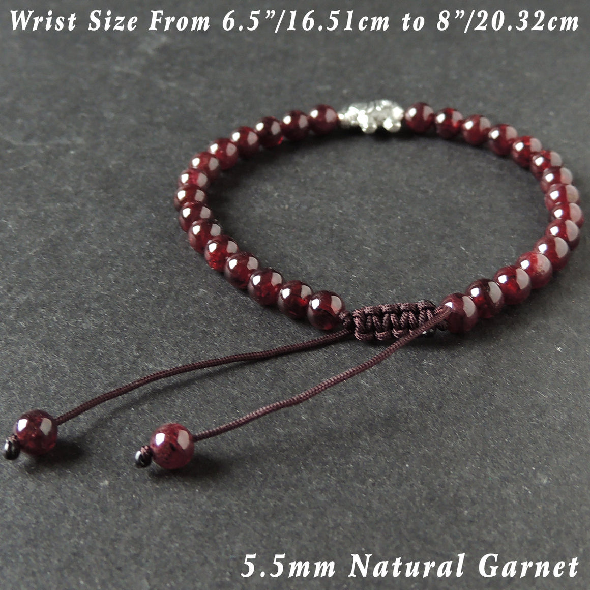5.5mm Garnet Adjustable Braided Bracelet with Tibetan Silver Elephant Charm - Handmade by Gem & Silver TSB288