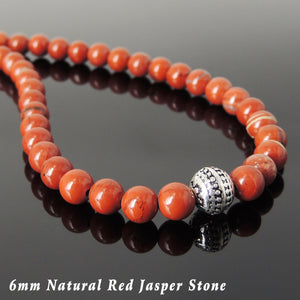 6mm Red Jasper Healing Stone Necklace with S925 Sterling Silver Artisan Beads & Clasp - Handmade by Gem & Silver NK142