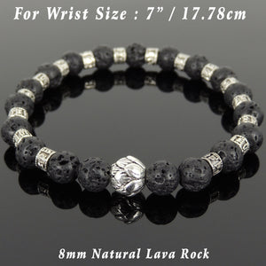 8mm Lava Rock Healing Stone Bracelet with Tibetan Silver Lotus Bead & OM Meditation Spacer Beads - Handmade by Gem & Silver TSB296