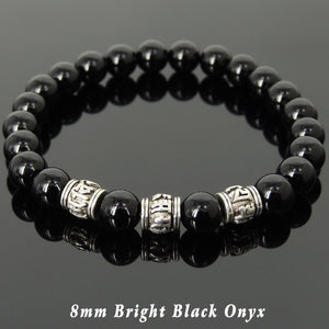 8mm Bright Black Onyx Healing Gemstone Bracelet with Tibetan Silver OM Meditation Cylinder Beads - Handmade by Gem & Silver TSB297