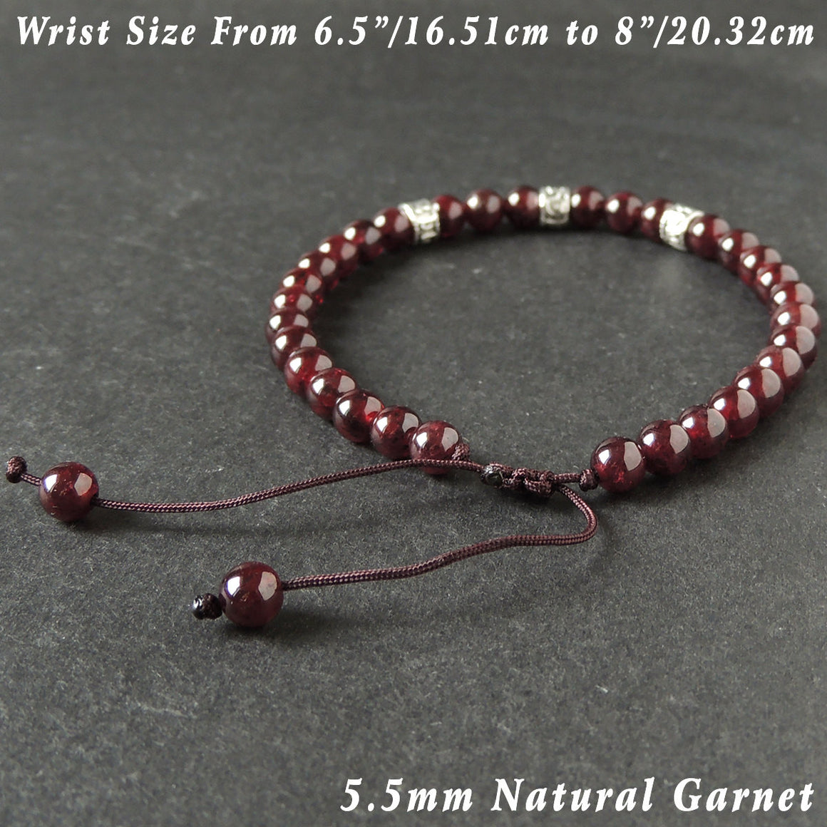 5.5mm Grade AAA Garnet Adjustable Braided Bracelet with Tibetan Silver OM Buddhism Spacers - Handmade by Gem & Silver TSB294